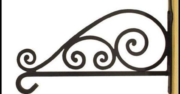 Art Deco Hanging Basket Brackets : Rustic wrought iron basket hook decoration balcony