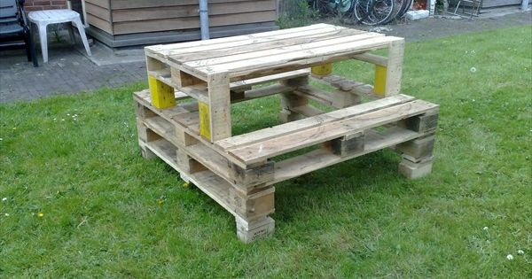 tisch und b nke aus paletten im garten gartenm bel aus paletten pinterest pallets and art. Black Bedroom Furniture Sets. Home Design Ideas