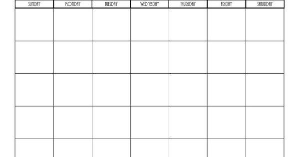 free printable blank monthly calendars