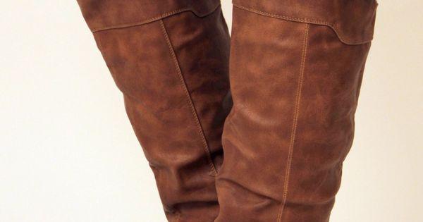 Knee High Cognac Boots. Vegan Leather.