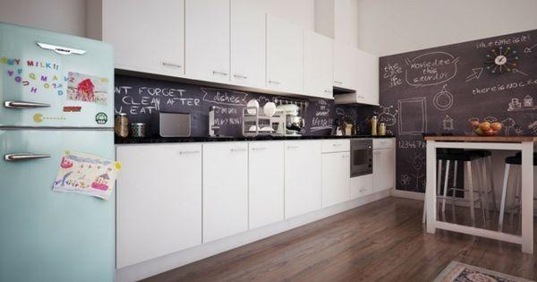 Küche Rückwand Tafelfarbe weiße grifflose Türe Küche / Kitchen - rückwand für küche