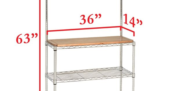 Seville Classics Bakers Rack For Kitchens Solid Wood Top 14 X 36 X