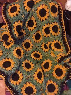 Crochet Sassy Sunflower Afghan Pattern Afghan Crochet Patterns Crochet Sunflower Crochet Afghan Patterns Free