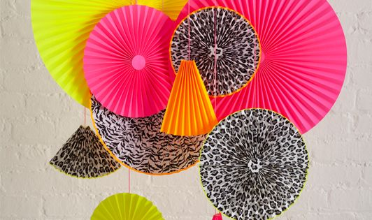 DIY Neon Decorations. Fun & festive color palette for party decoration, paper