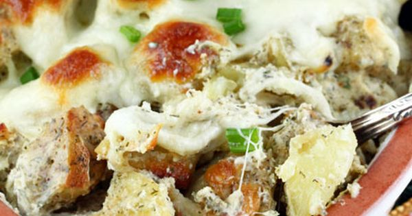 Roasted Mozzarella Potatoes Recipe ~ Yukon gold potatoes roasted with Italian seasonings