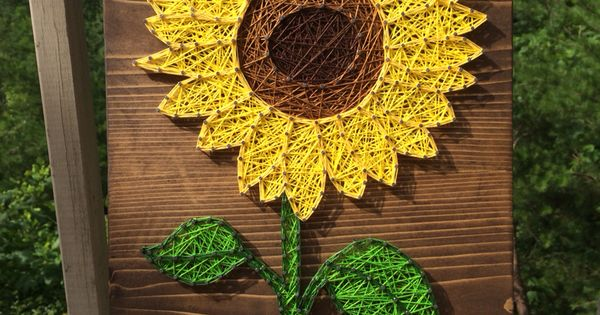 Bright sunflower string art (flower, nail, thread) - Order ...