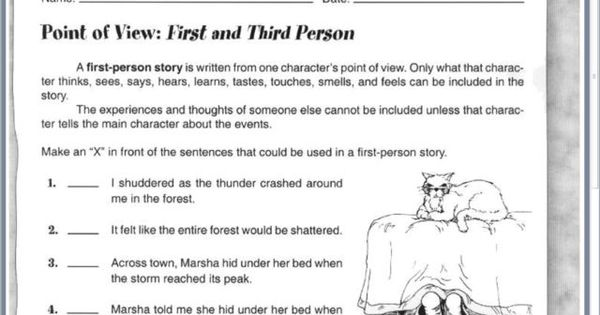 Point Of View First And Third Person Worksheet Lesson