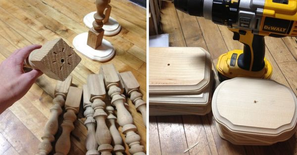 Make candlestick centerpieces from table legs and wood