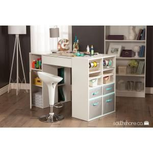 South Shore Crea Laminated Particleboard Counter Height Craft Table With Storage In Pure White 7550 Craft Table Craft Tables With Storage Sewing Machine Tables