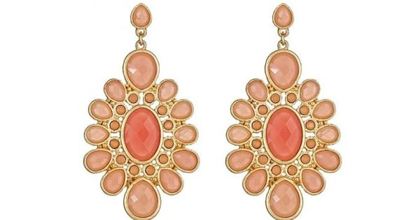 Coral Flower Drop Earrings