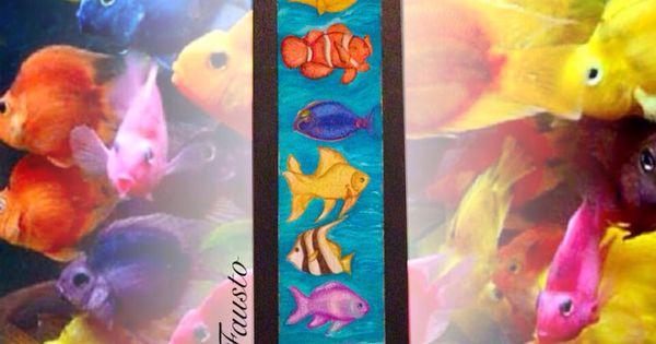 Cuadro peces de colores pintura al fr o sobre madera - Cuadros con peces ...