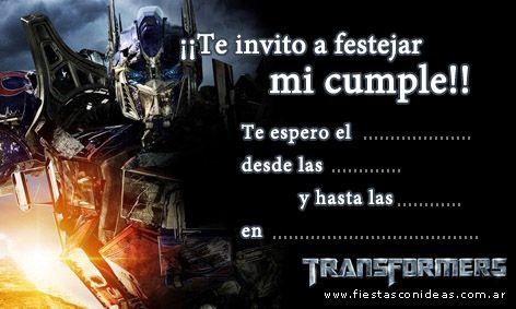 Tarjeta De Cumpleaños De Transformers Tarjetas De