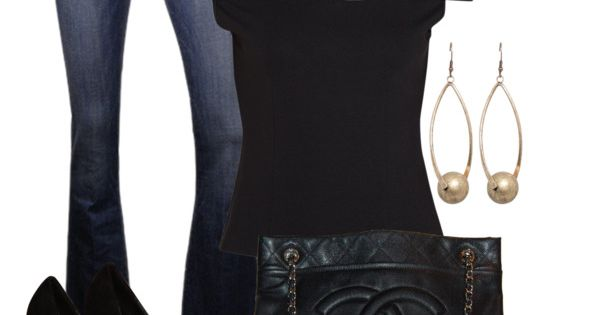 Love black outfit chanel bag lovely