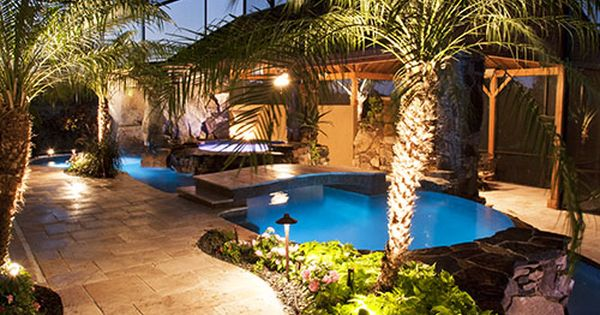 I love the trees and lights and all the greenery my for Pool kings design