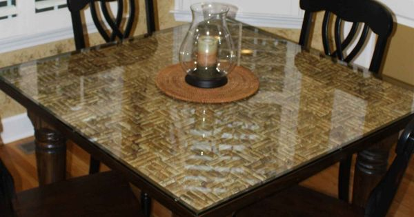 Wine cork table top with a glass overlay u2026seems like for Wine cork bar top