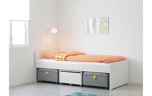 Slakt Structure Lit Sommier Lattes Blanc En 2019 Lit Ikea Base De Lit Et Idees De Lit