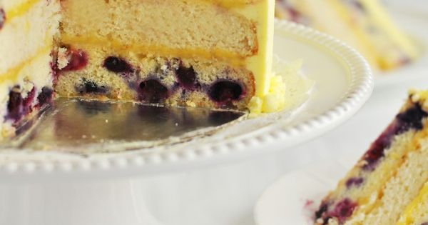 Triple-Lemon Blueberry Layer Cake -- lemon cake, lemon curd and lemon frosting.