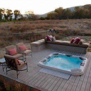 Simple Backyard Deck Design With Hot Tub In The Middle Backyard Deck Designs With Hot Tub Ideas In Outdoo Deck Designs Backyard Backyard Design Backyard Deck
