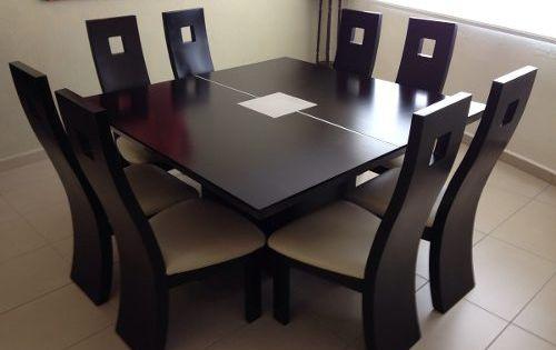 Juego de comedor de 8 sillas cuadrado y modernos juego for Juego de muebles moderno