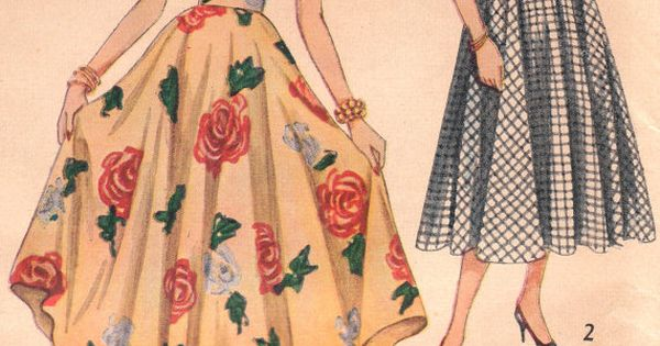 1950s Vintage Circle Skirt Pattern Hair Clothing And