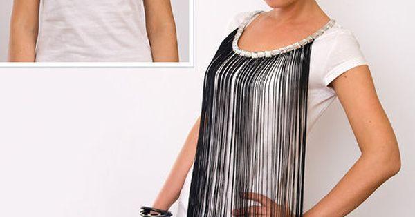 diy projekt t shirt mit fransen und strass steinen aufpeppen diy shirts diy fashion. Black Bedroom Furniture Sets. Home Design Ideas