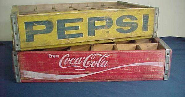 2 old vintage pepsi cola coca cola soda pop bottle wood for Wooden soda crate ideas