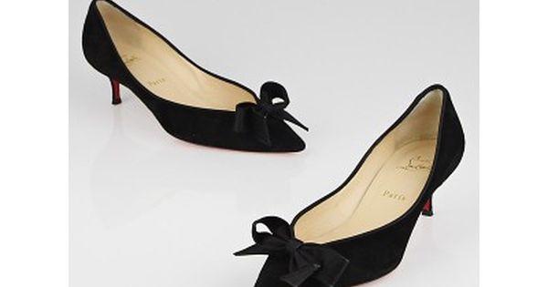 Christian Louboutin Black Suede Gruotta 45 Kitten Heels Size 10