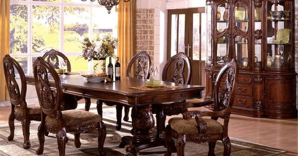 Fa3845pcht tuscany pedestals antique cherry solid wood 7 for Solid wood formal dining room sets