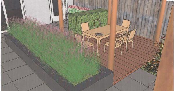Tuinvoorbeeld van een moderne tuin met vlonder en verhoogde border tuinbakken pinterest - Kleine designtuin ...