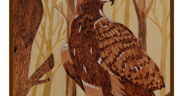 Pyrogravure sur bois peinte à lacrylique Laigle 50/60 cm ...
