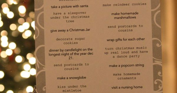 Christmas Fun List - I need to do this at Christmas time!