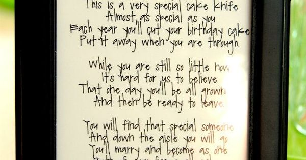 wedding cake knife poem my friend is doing this for who is now 5 23025