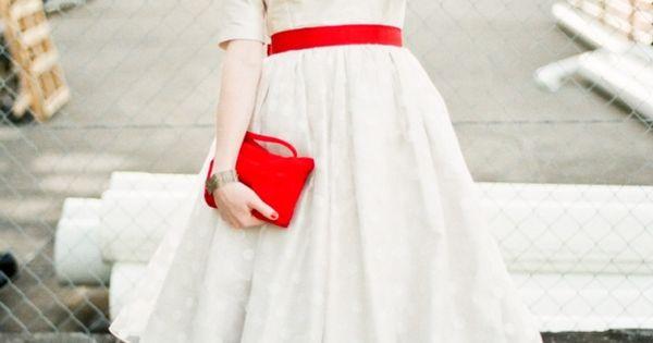 1950s Vintage Wedding Dress Red Crinoline Slip Red Shoes