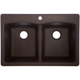 22 In X 33 In Mocha Double Basin Granite Drop In Or Undermount