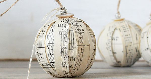 music sheet Christmas ornaments no tutorial on page with 20 rustic Christmas