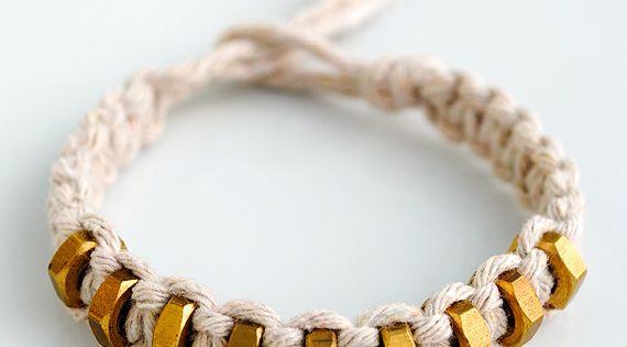 DIY: macramé & hexnut bracelet - have made a hex nut bracelet.