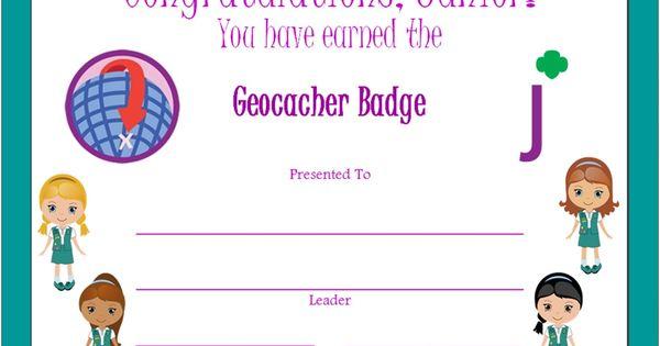junior geocacher badge certificate junior girl scouts