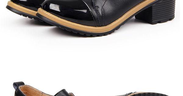 black lace up thick heel bri retro shoe lace