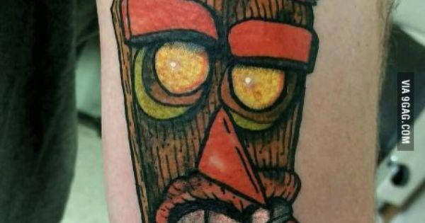 """Aku-Aku """"Oooobadoooga!"""" from Crash Bandicoot tattoo ..."""
