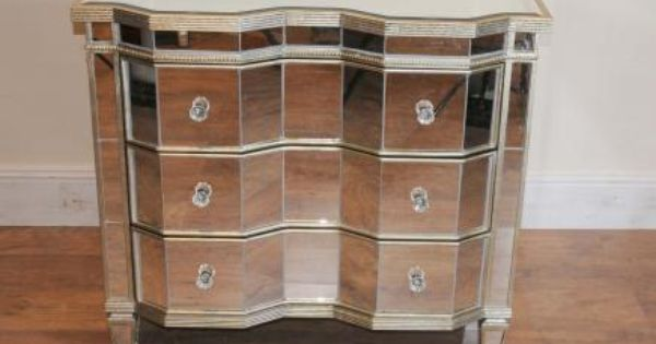 Mirrored Chest Drawers Crinkle Art Deco Cabinet For