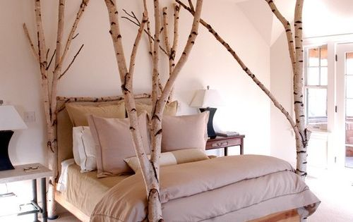 Birch tree bed, great idea for a cabin