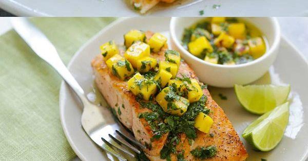 Chimichurri Salmon with Mango   Recipe   Easy restaurant ...