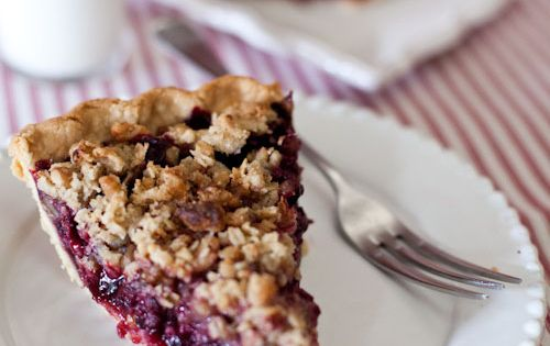 Blueberry Balsamic Pie with Sea Salt Walnut crumble