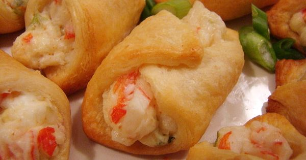 Crescent roll crab rangoon... Just mix together some chopped crab meat (I