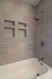 Image Result For Horizontal Accent Tile In Tub Grey Bathroom Tiles Bathrooms Remodel Small Bathroom Remodel