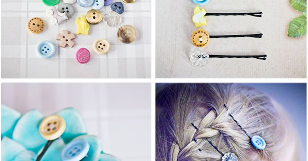 Button craft - hair clips