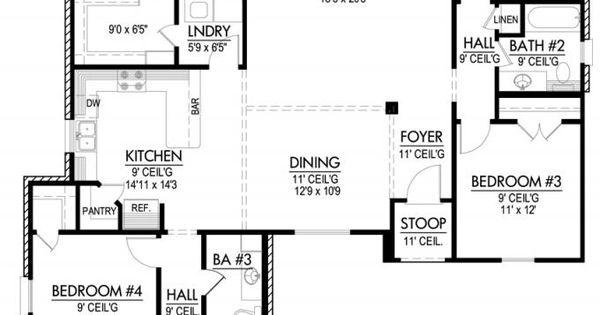 653643 four bedroom triple split house plan house for Triple a flooring