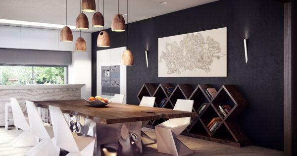 Esszimmer pendelleuchten modern design holztisch for Esszimmer holztisch