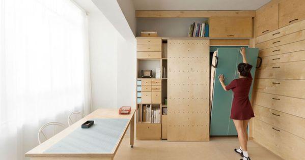 Dise o de mueble modular con muchos cajones para for Muebles departamento pequeno
