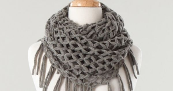 Knitted Fringe Infinity Scarf.